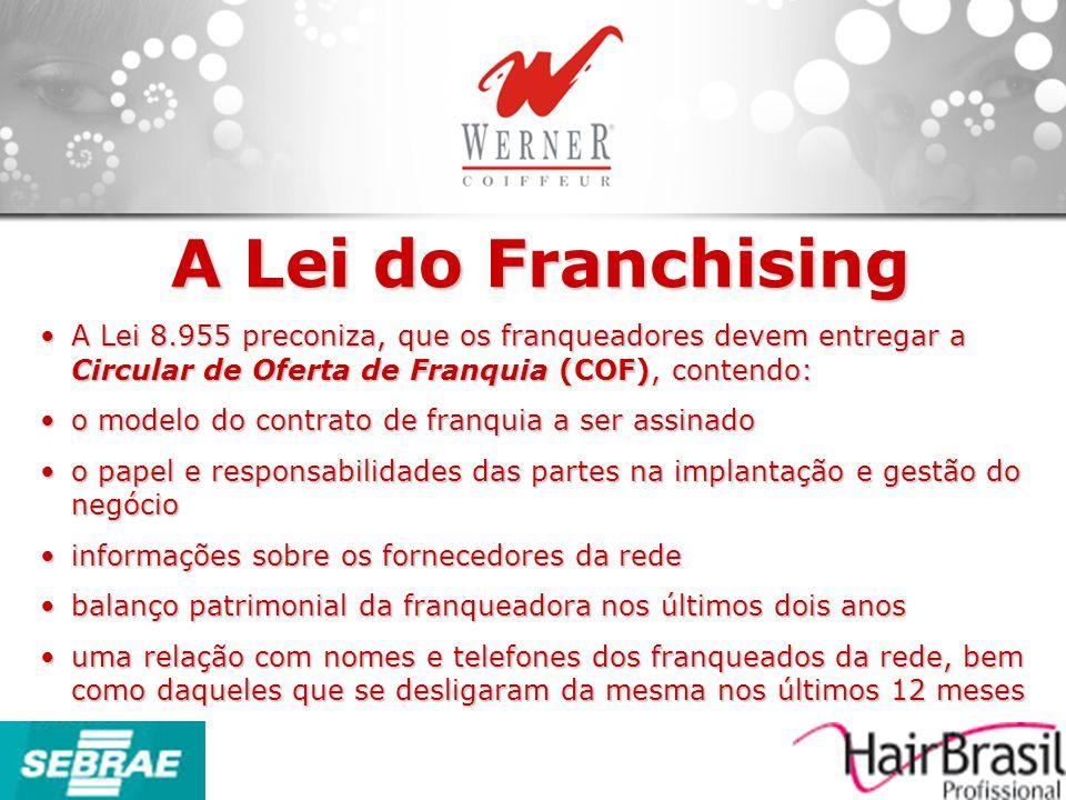 A Lei do Franchising A Lei 8.955 preconiza, que os franqueadores devem entregar a Circular de Oferta de Franquia (COF), contendo:
