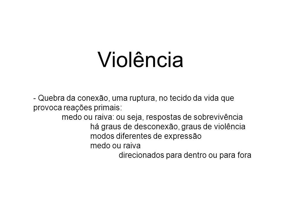 Violência - Quebra da conexão, uma ruptura, no tecido da vida que provoca reações primais: medo ou raiva: ou seja, respostas de sobrevivência.