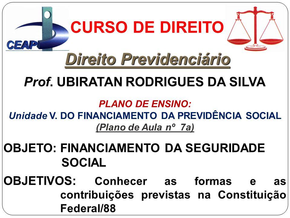 Unidade V. DO FINANCIAMENTO DA PREVIDÊNCIA SOCIAL