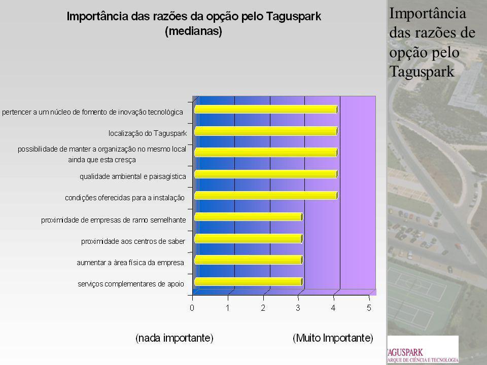 Importância das razões de opção pelo Taguspark