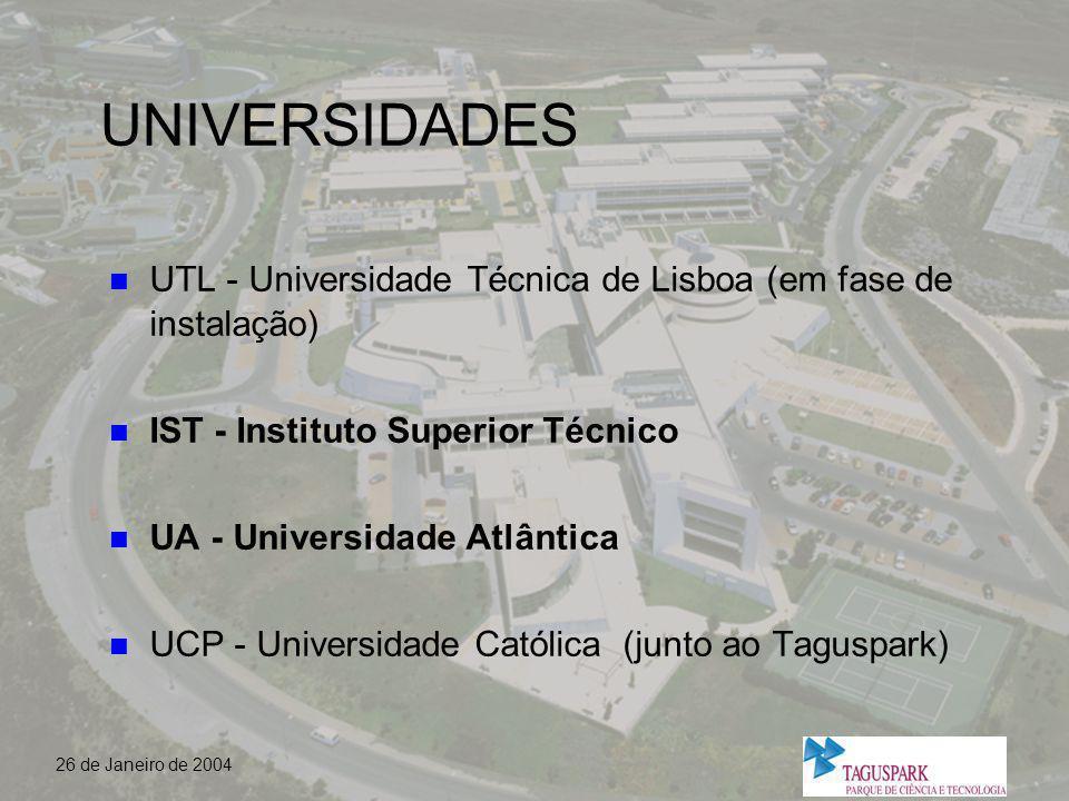 UNIVERSIDADES UTL - Universidade Técnica de Lisboa (em fase de instalação) IST - Instituto Superior Técnico.