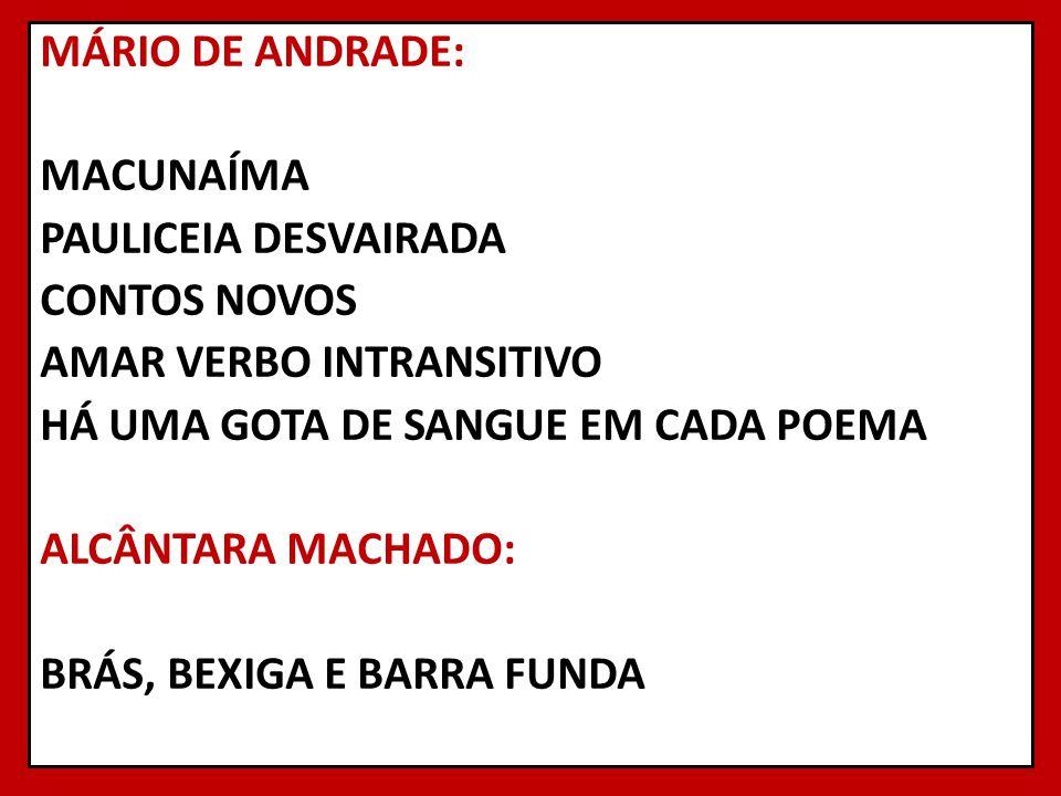MÁRIO DE ANDRADE: MACUNAÍMA PAULICEIA DESVAIRADA CONTOS NOVOS AMAR VERBO INTRANSITIVO HÁ UMA GOTA DE SANGUE EM CADA POEMA ALCÂNTARA MACHADO: BRÁS, BEXIGA E BARRA FUNDA