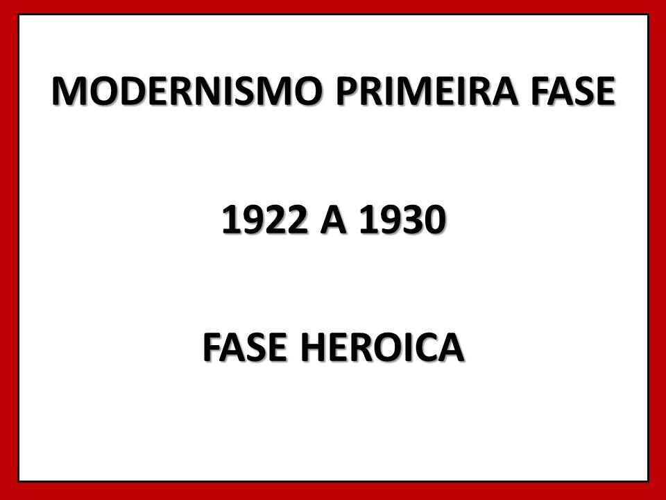MODERNISMO PRIMEIRA FASE 1922 A 1930 FASE HEROICA