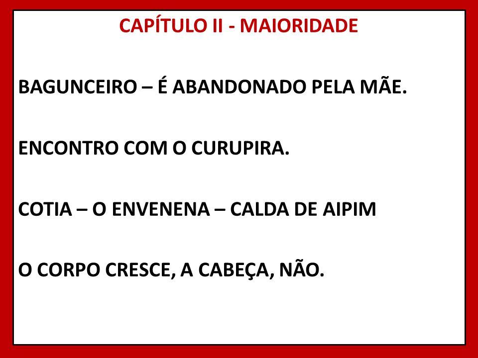 CAPÍTULO II - MAIORIDADE BAGUNCEIRO – É ABANDONADO PELA MÃE
