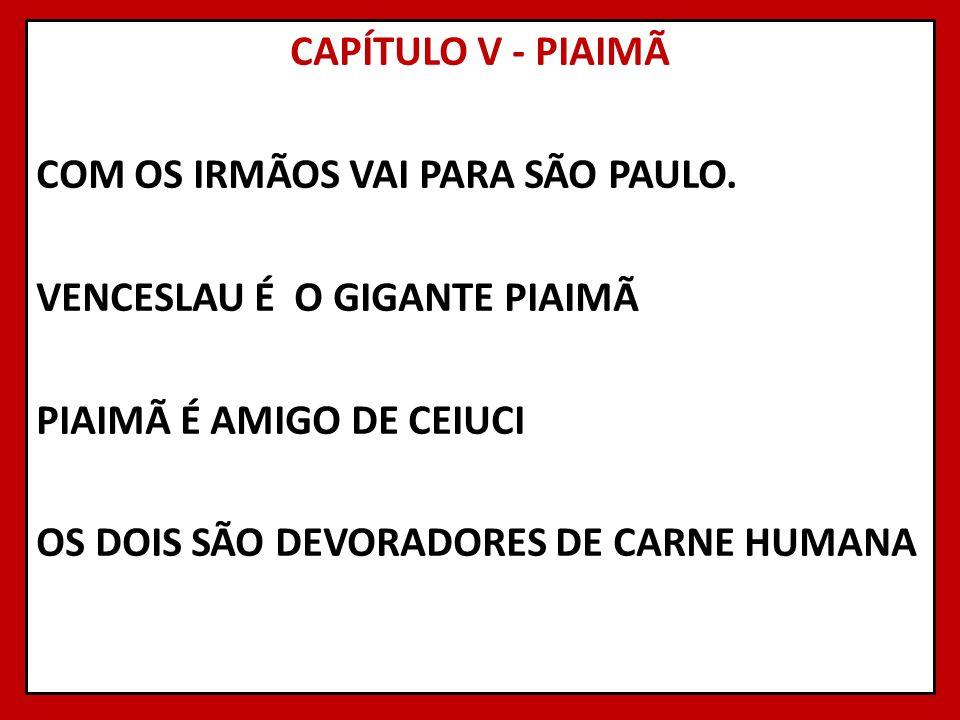 CAPÍTULO V - PIAIMÃ COM OS IRMÃOS VAI PARA SÃO PAULO