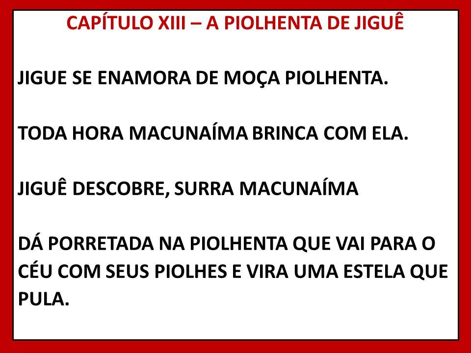 CAPÍTULO XIII – A PIOLHENTA DE JIGUÊ JIGUE SE ENAMORA DE MOÇA PIOLHENTA.