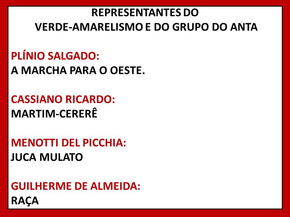 REPRESENTANTES DO VERDE-AMARELISMO E DO GRUPO DO ANTA PLÍNIO SALGADO: A MARCHA PARA O OESTE.