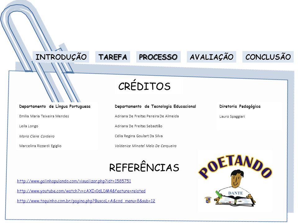 CRÉDITOS REFERÊNCIAS INTRODUÇÃO TAREFA PROCESSO AVALIAÇÃO CONCLUSÃO