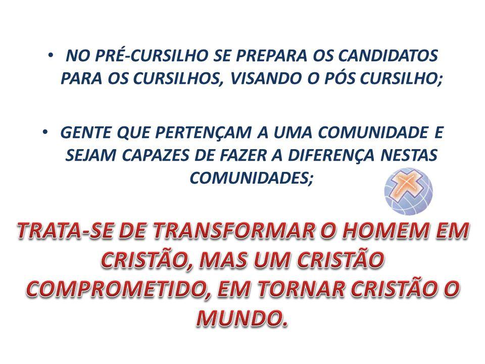 NO PRÉ-CURSILHO SE PREPARA OS CANDIDATOS PARA OS CURSILHOS, VISANDO O PÓS CURSILHO;