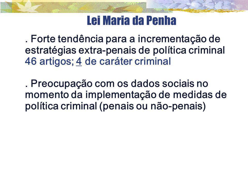 Lei Maria da Penha . Forte tendência para a incrementação de estratégias extra-penais de política criminal.
