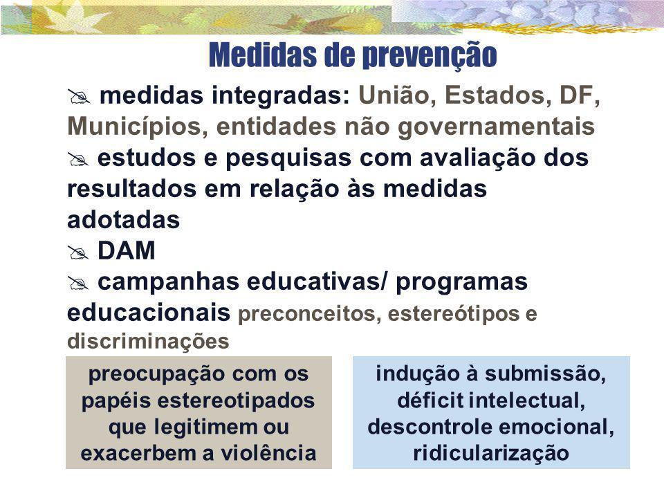 Medidas de prevenção medidas integradas: União, Estados, DF, Municípios, entidades não governamentais.
