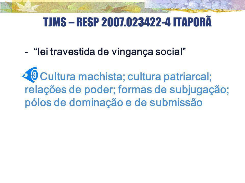 TJMS – RESP 2007.023422-4 ITAPORÃ lei travestida de vingança social