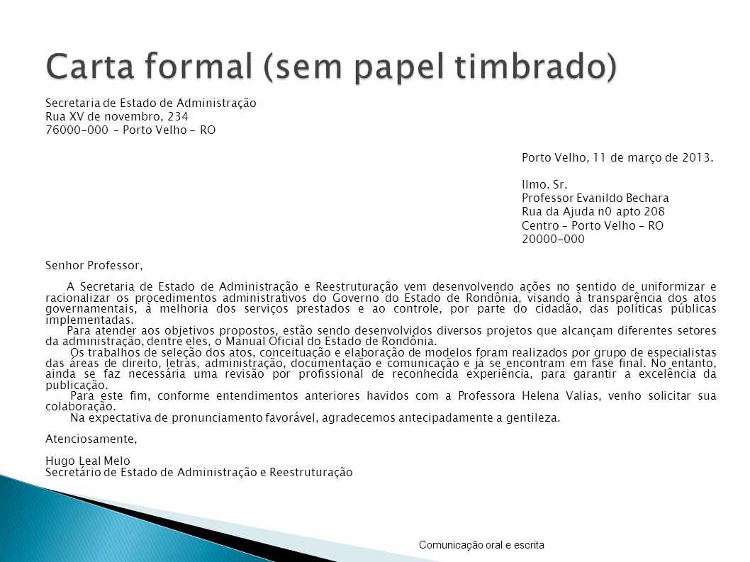 Carta formal (sem papel timbrado)