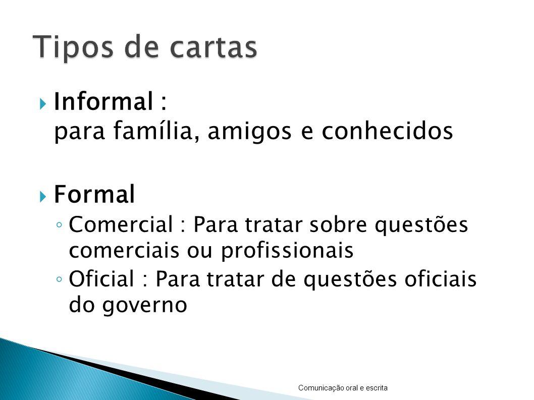Tipos de cartas Informal : para família, amigos e conhecidos Formal