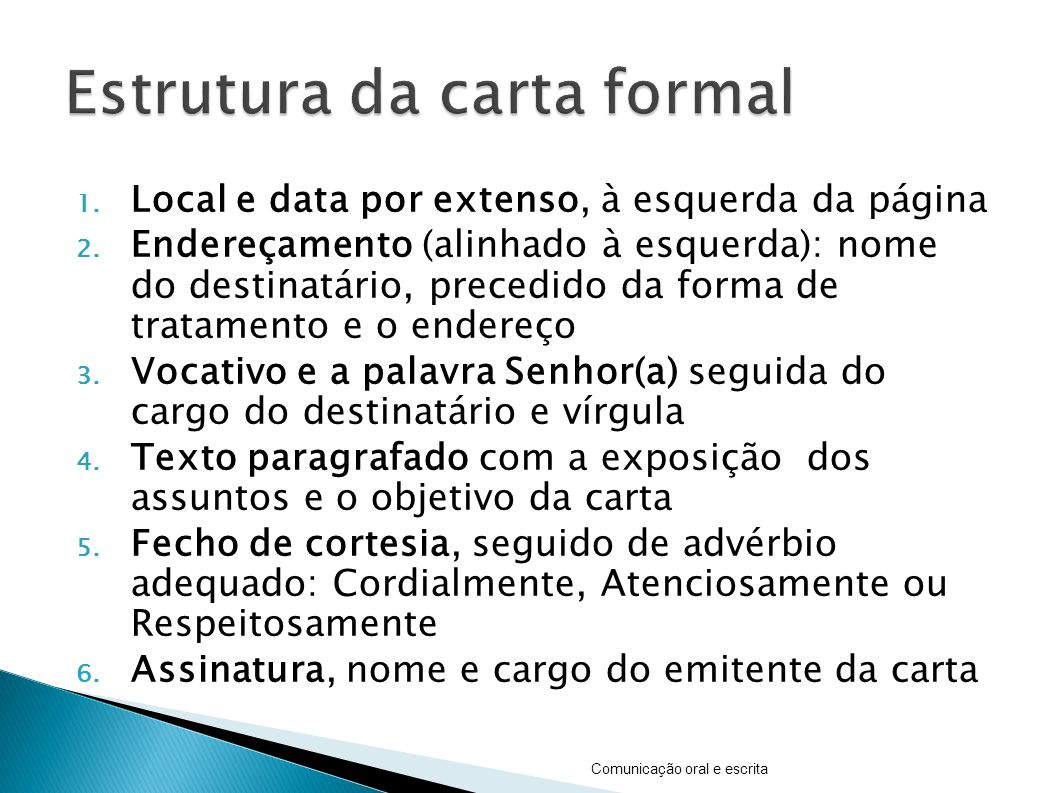 Estrutura da carta formal