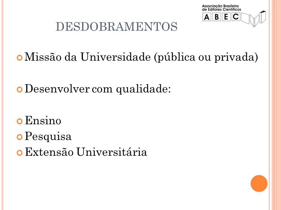 DESDOBRAMENTOS Missão da Universidade (pública ou privada)