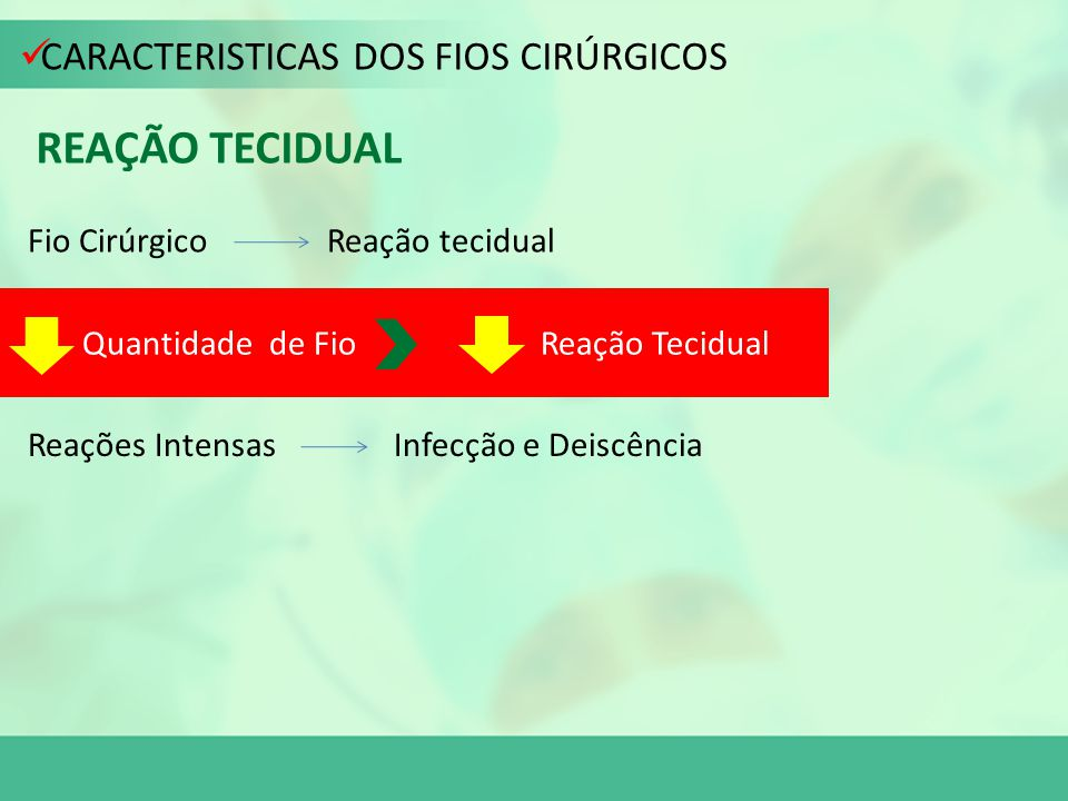 REAÇÃO TECIDUAL CARACTERISTICAS DOS FIOS CIRÚRGICOS