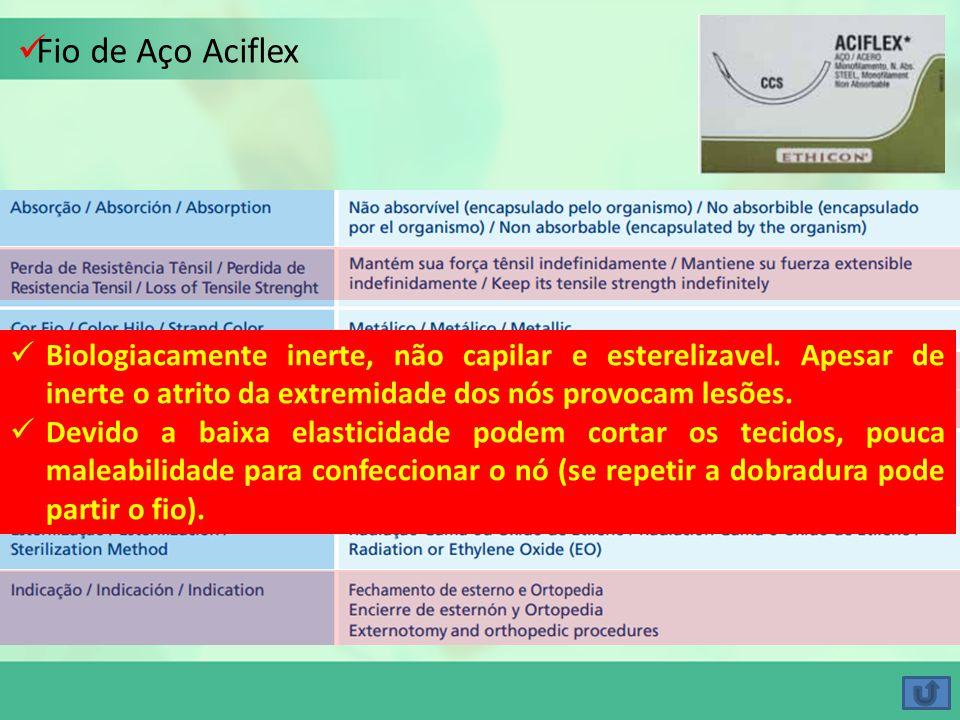 Fio de Aço Aciflex Biologiacamente inerte, não capilar e esterelizavel. Apesar de inerte o atrito da extremidade dos nós provocam lesões.