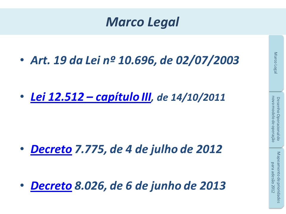 Marco Legal Art. 19 da Lei nº 10.696, de 02/07/2003
