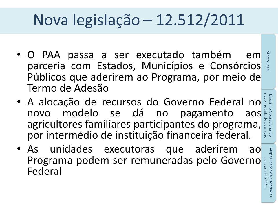 Nova legislação – 12.512/2011