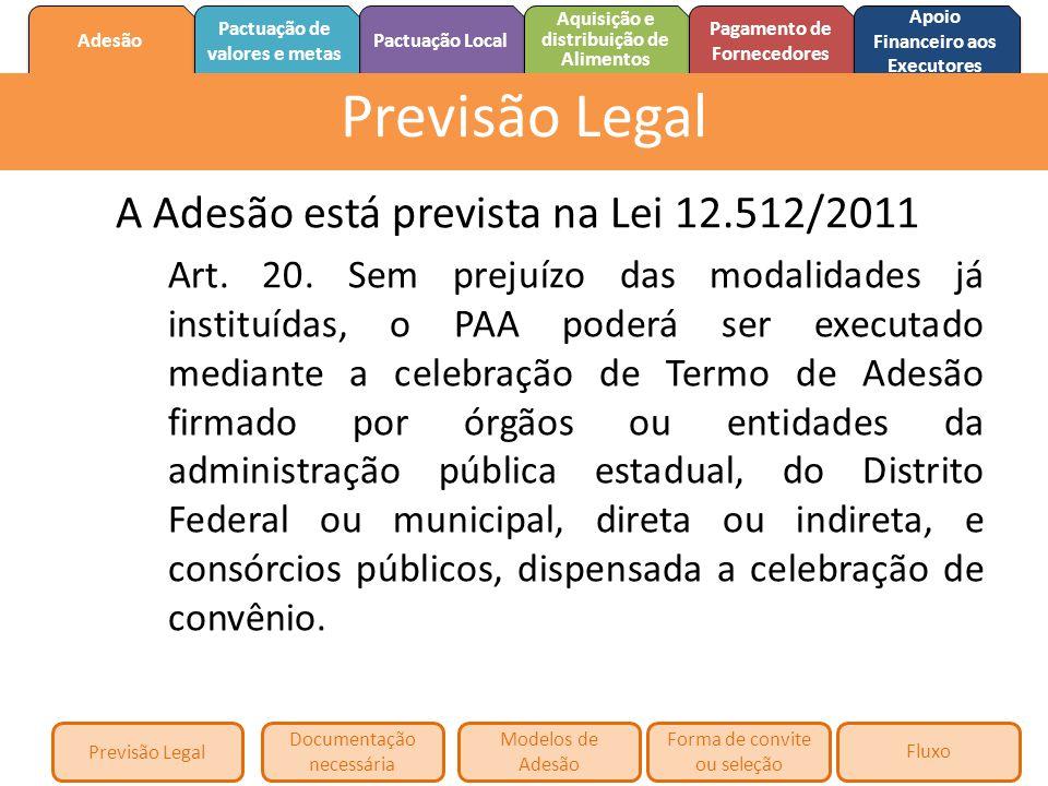 Previsão Legal A Adesão está prevista na Lei 12.512/2011
