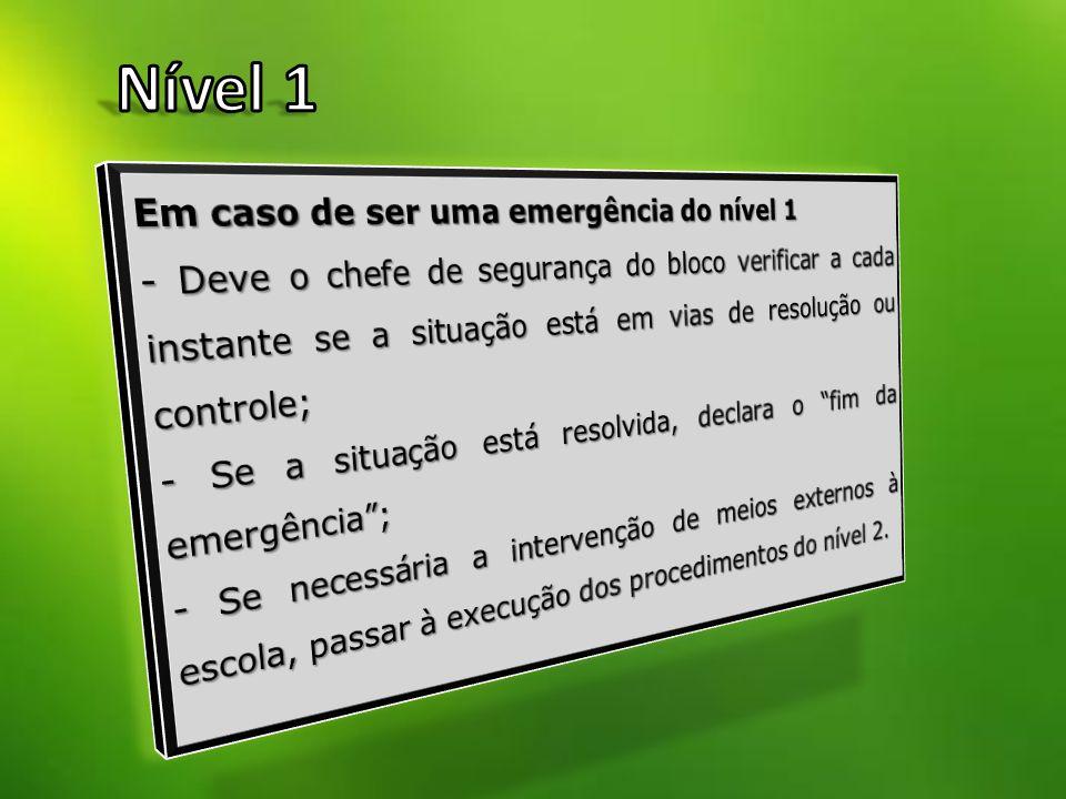 Nível 1 Em caso de ser uma emergência do nível 1