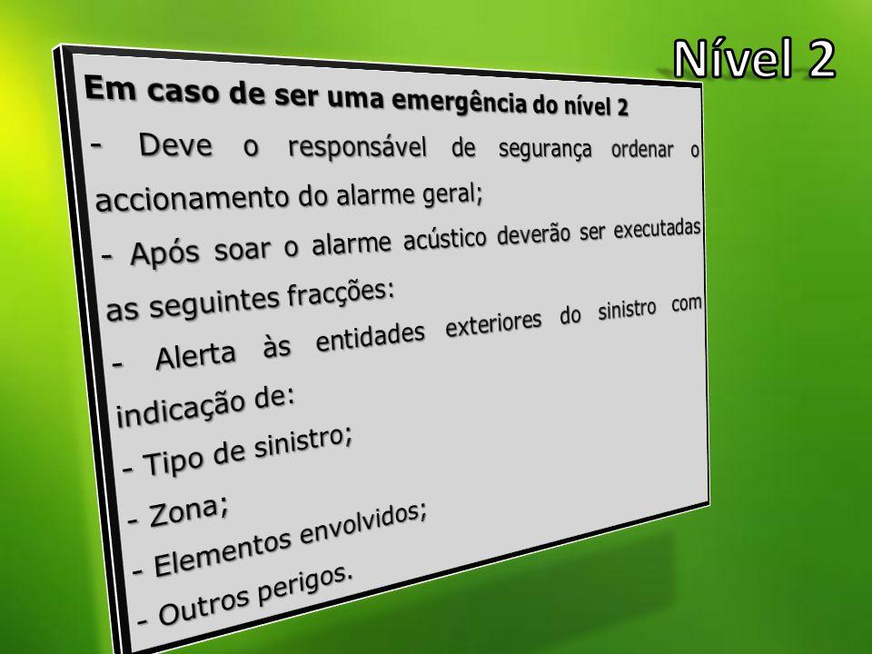 Nível 2 Em caso de ser uma emergência do nível 2