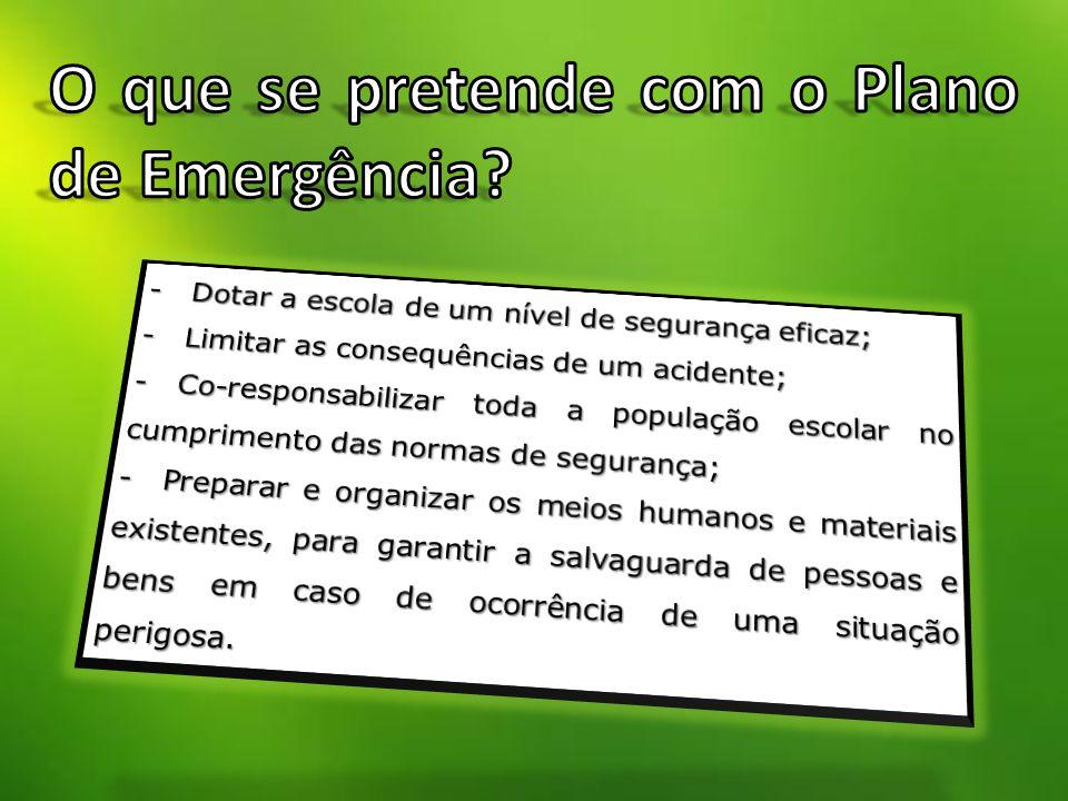 O que se pretende com o Plano de Emergência