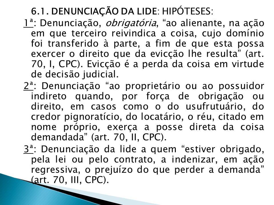 6.1. DENUNCIAÇÃO DA LIDE: HIPÓTESES: