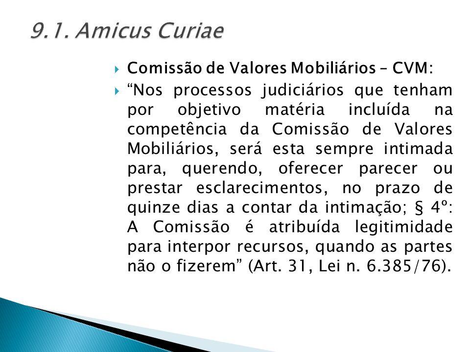 9.1. Amicus Curiae Comissão de Valores Mobiliários – CVM: