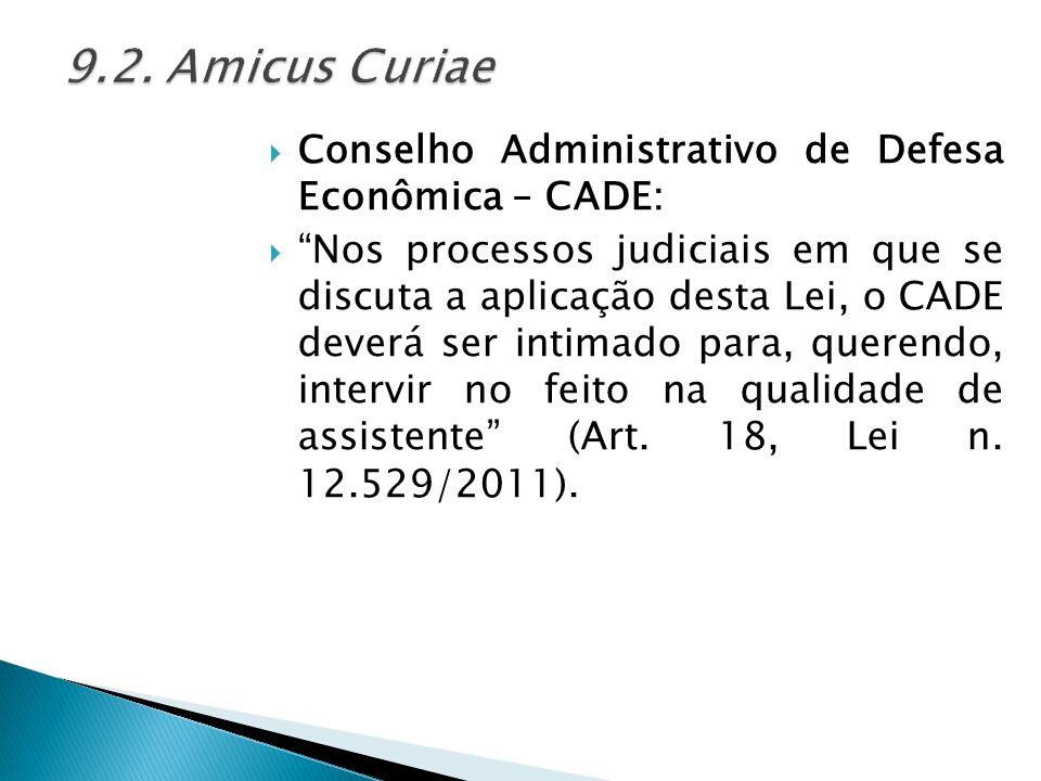 9.2. Amicus Curiae Conselho Administrativo de Defesa Econômica – CADE: