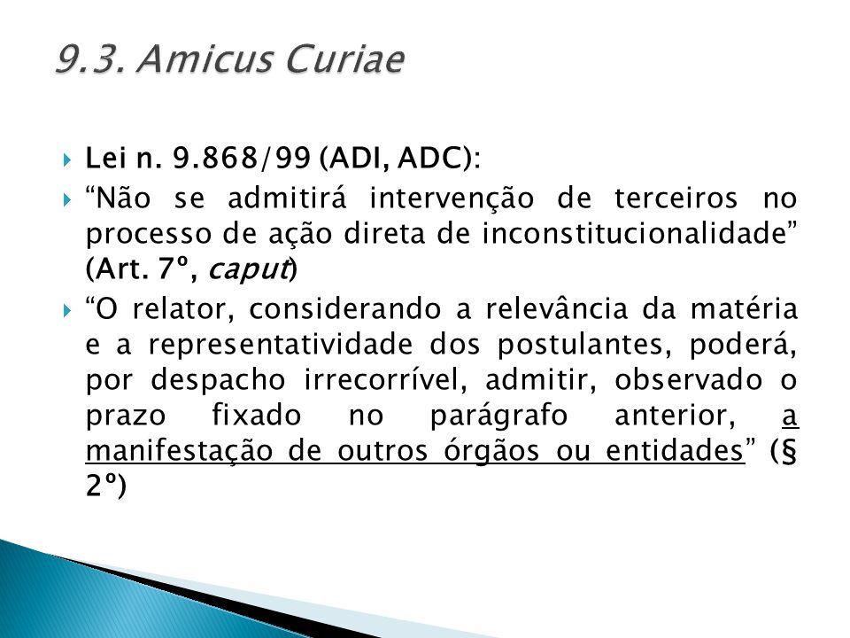 9.3. Amicus Curiae Lei n. 9.868/99 (ADI, ADC):
