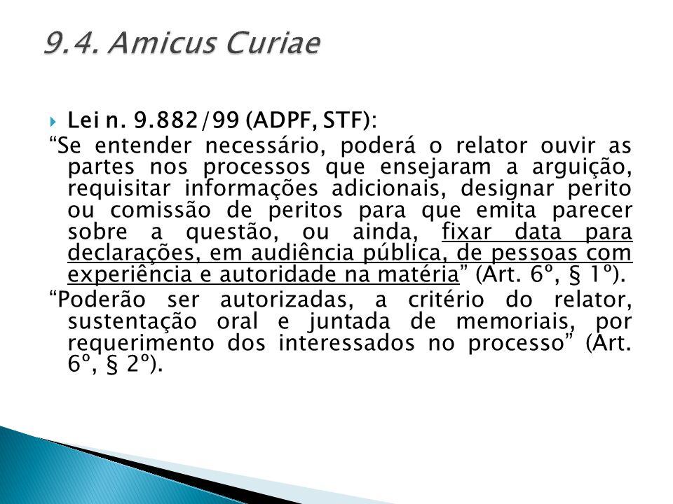 9.4. Amicus Curiae Lei n. 9.882/99 (ADPF, STF):
