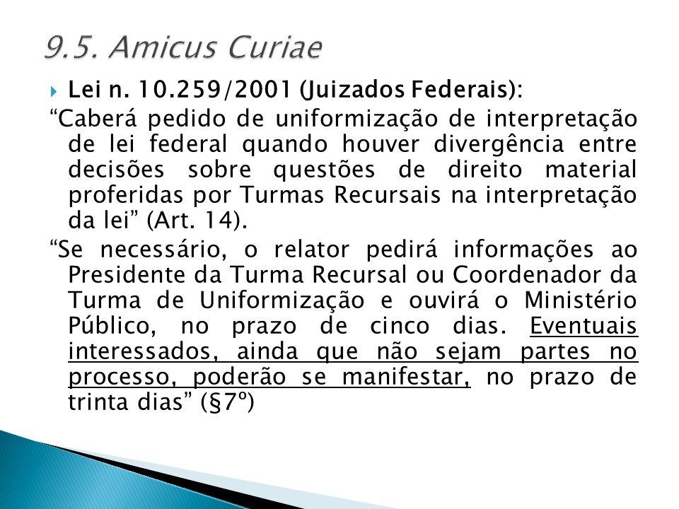 9.5. Amicus Curiae Lei n. 10.259/2001 (Juizados Federais):