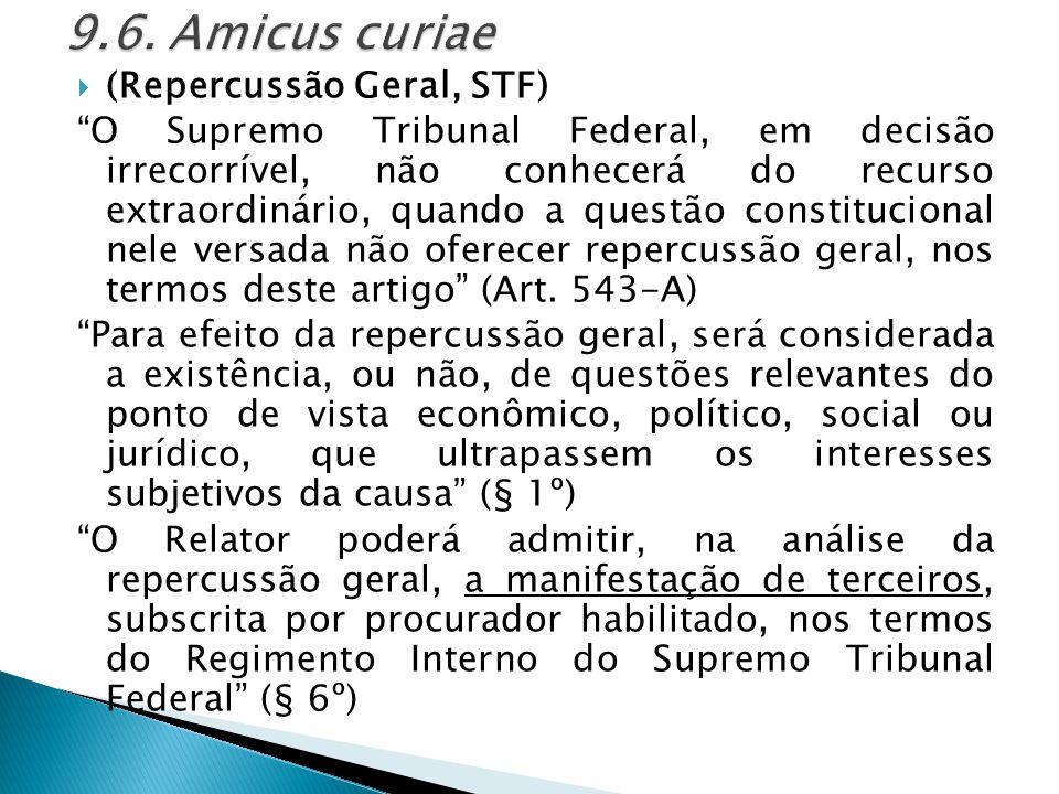 9.6. Amicus curiae (Repercussão Geral, STF)