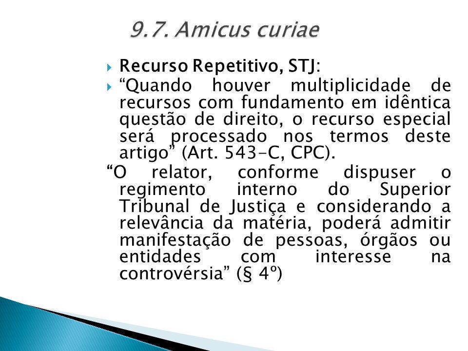 9.7. Amicus curiae Recurso Repetitivo, STJ: