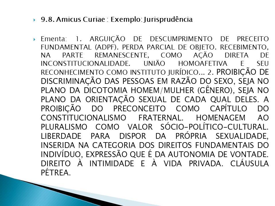 9.8. Amicus Curiae : Exemplo: Jurisprudência