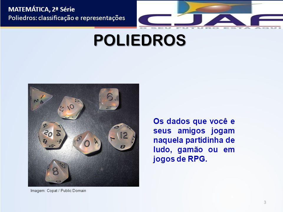 MATEMÁTICA, 2ª Série Poliedros: classificação e representações. POLIEDROS.