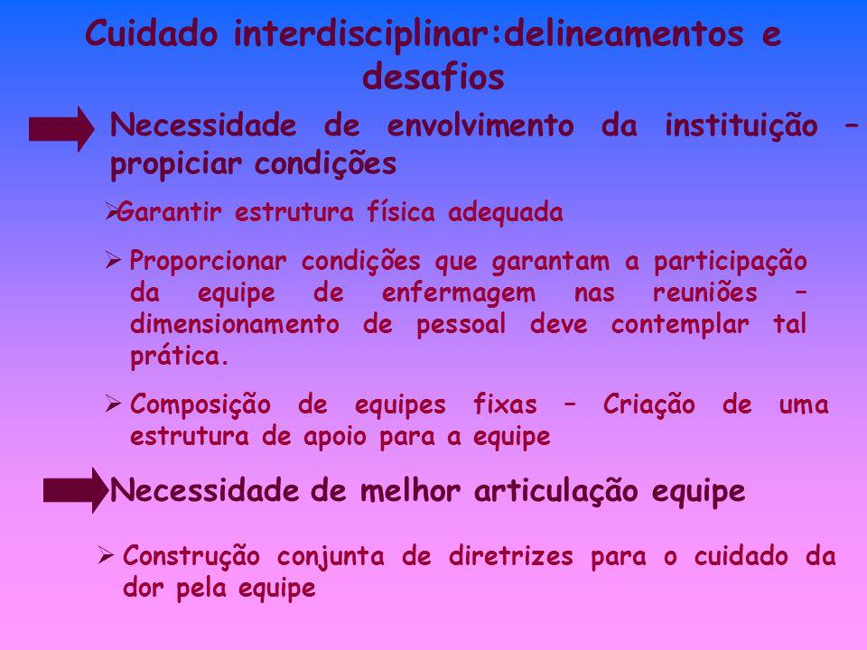 Cuidado interdisciplinar:delineamentos e desafios