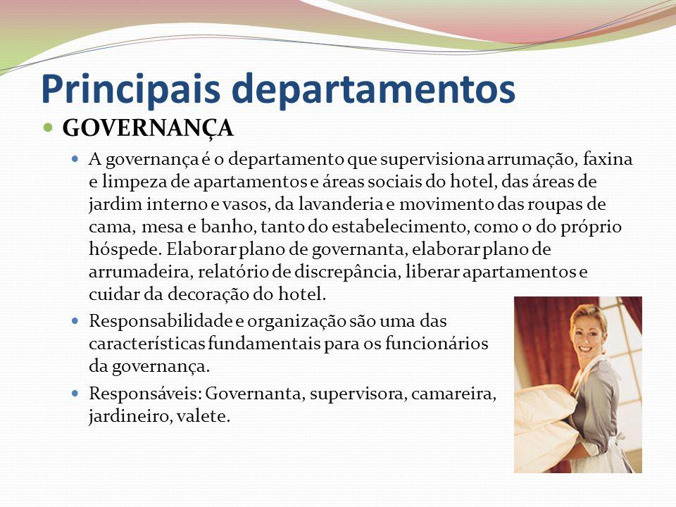 Principais departamentos