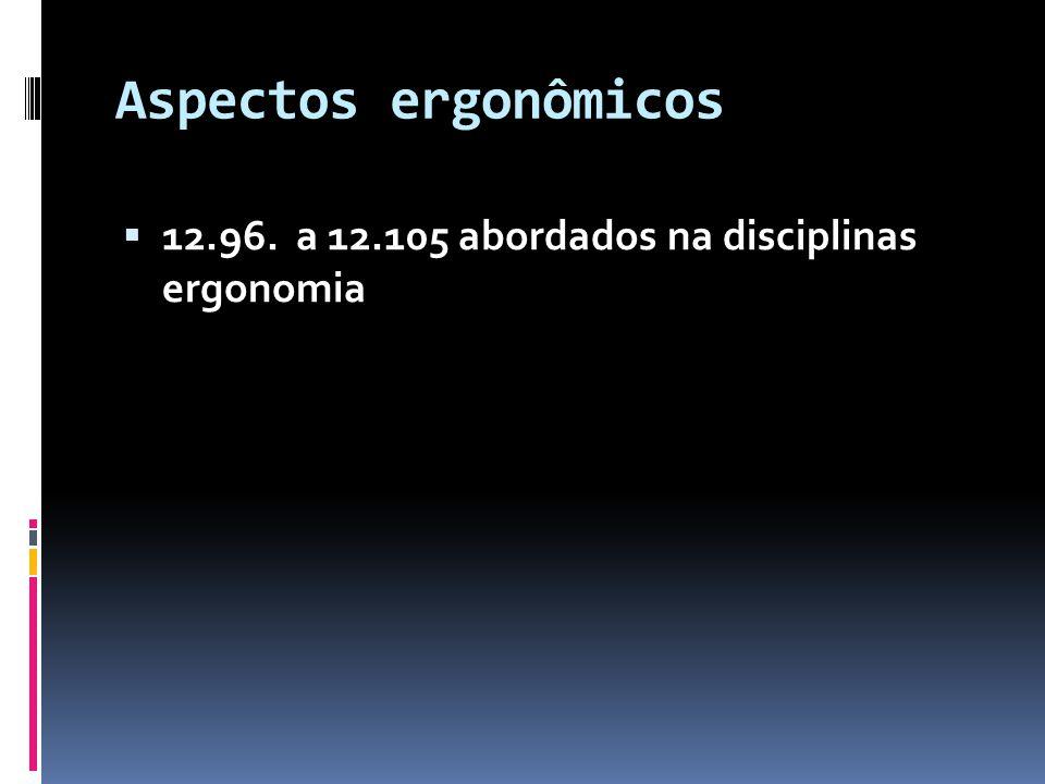 Aspectos ergonômicos 12.96. a 12.105 abordados na disciplinas ergonomia