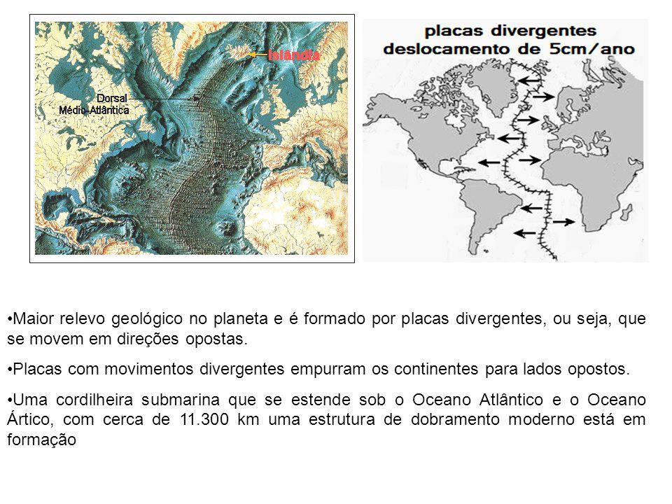 Maior relevo geológico no planeta e é formado por placas divergentes, ou seja, que se movem em direções opostas.