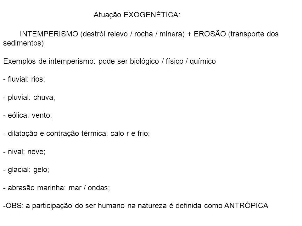 Atuação EXOGENÉTICA: INTEMPERISMO (destrói relevo / rocha / minera) + EROSÃO (transporte dos sedimentos)