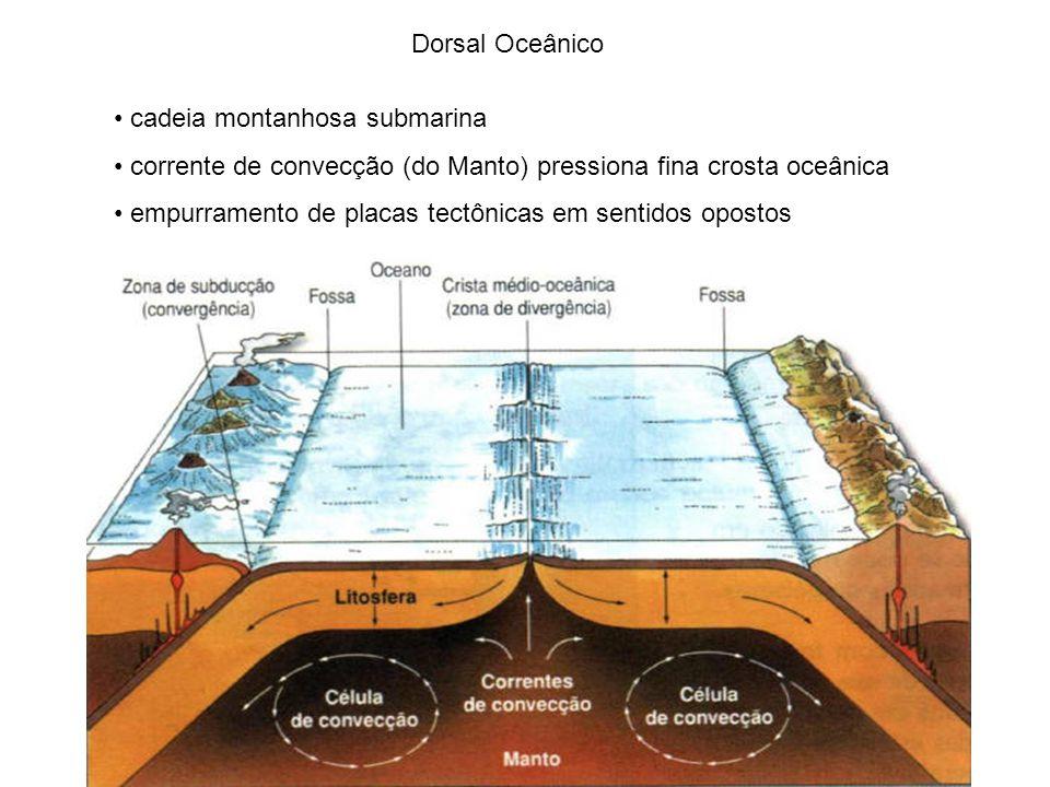 Dorsal Oceânico cadeia montanhosa submarina. corrente de convecção (do Manto) pressiona fina crosta oceânica.