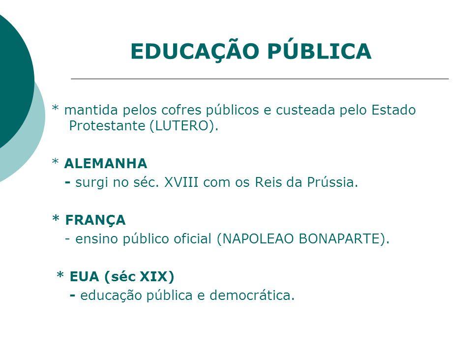 EDUCAÇÃO PÚBLICA * mantida pelos cofres públicos e custeada pelo Estado Protestante (LUTERO). * ALEMANHA.