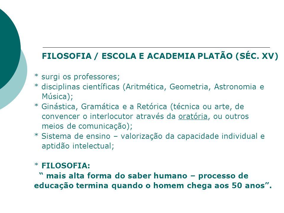 FILOSOFIA / ESCOLA E ACADEMIA PLATÃO (SÉC. XV)