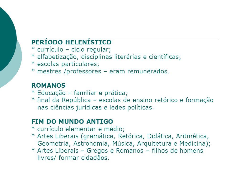 PERÍODO HELENÍSTICO * currículo – ciclo regular; * alfabetização, disciplinas literárias e científicas;