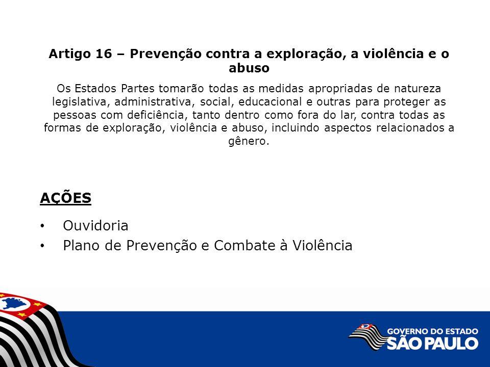 Plano de Prevenção e Combate à Violência