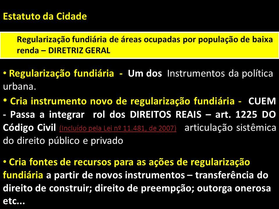 Estatuto da Cidade Regularização fundiária de áreas ocupadas por população de baixa renda – DIRETRIZ GERAL.