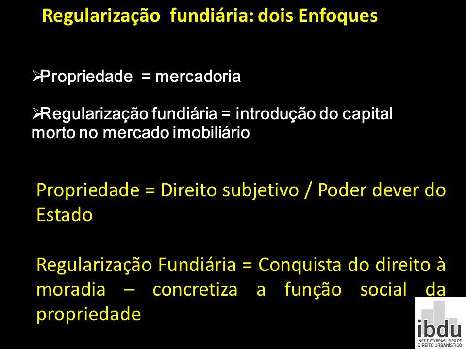 Regularização fundiária: dois Enfoques